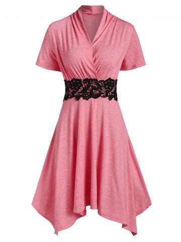 Surplice Applique Panel Asymmetric Casual Dress