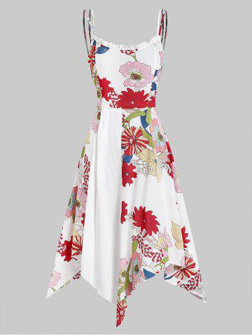Asymmetric Flower Print Knee Length Cami Dress