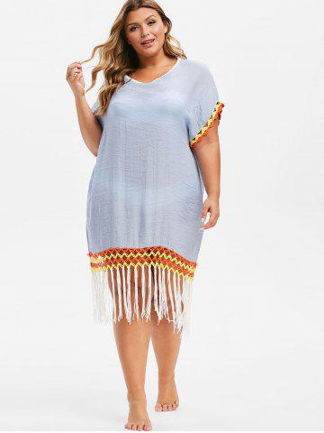 054632f9819d8 Plus Size Fringe Dress - A line, Bodycan And Floral Cheap With Free ...