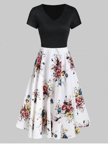 Contrast Flower Print A Line Casual Dress