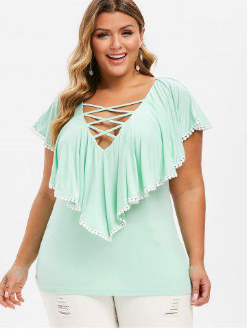 Plus Size Plunge Criss Cross Ruffle T-shirt