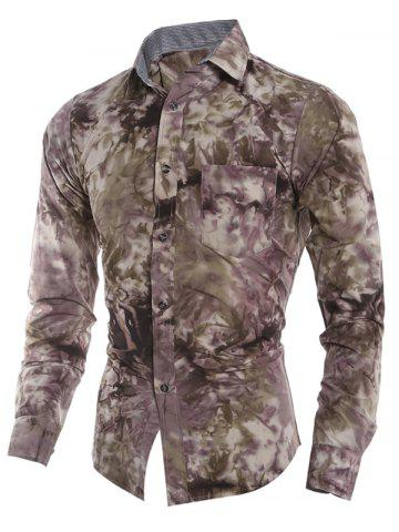 Tie Dye Print Pocket Fitted Button Up Shirt