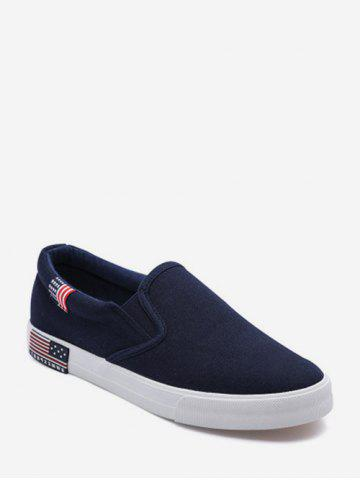 American Flag Detail Canvas Loafer Shoes