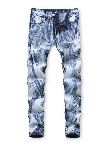 Zip Fly Casual Printed Jeans