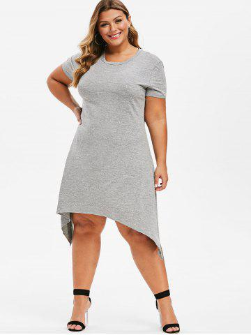 Plus Size Asymmetrical Midi T-shirt Dress