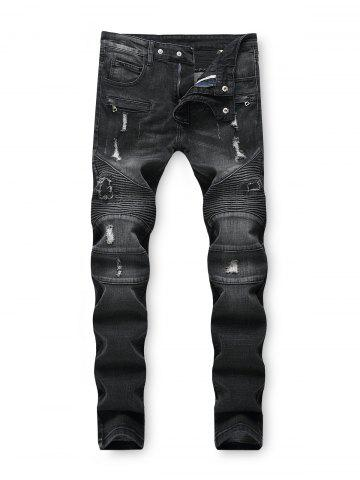 Dark Wash Ripped Decoration Jeans
