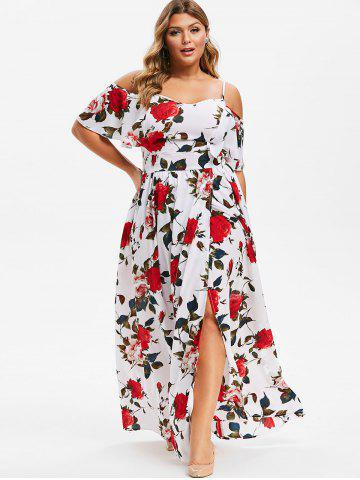 Plus Size Flower Cold Shoulder Slit Maxi Dress