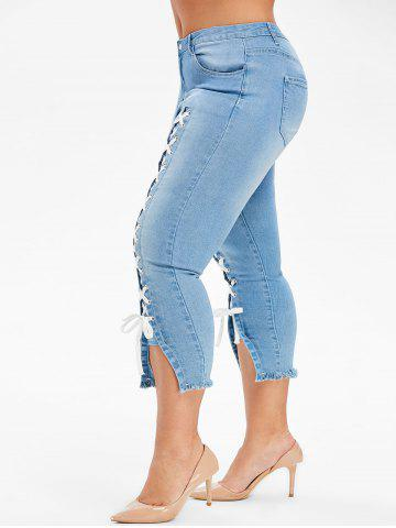 Plus Size Lace Up Capri Frayed Jeans - DENIM BLUE - 4X