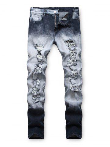 Ombre Printed Ripped Jeans
