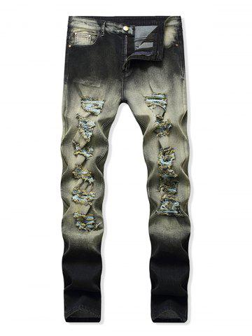 Destroyed Decoration Zip Fly Jeans