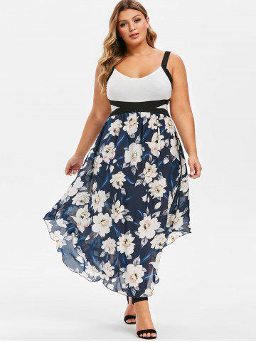 Plus Size Flower Print Sleeveless Empire Waist Dress