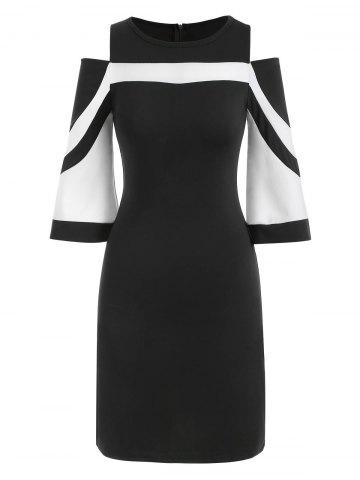 Two Tone Open Shoulder Bodycon Dress