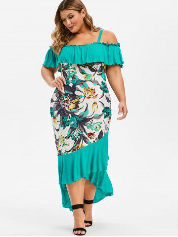 Plus Size Ruffled Floral High Low Maxi Cami Dress