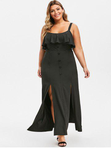 Plus Size High Slit Ruffle Maxi Dress