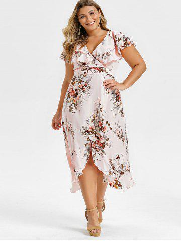 165a684755 Plus Size Floral Print High Low Ruffle Maxi Dress