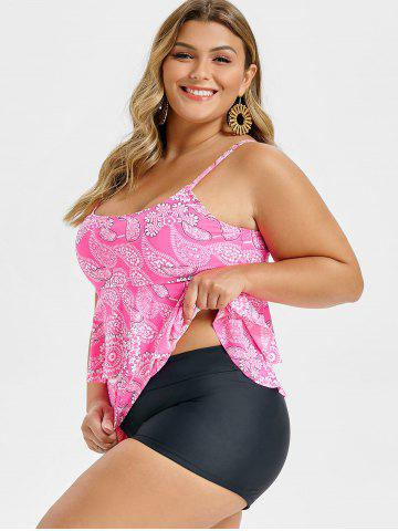 Plus Size Paisley Print Tiered Flounce Tankini Swimsuit