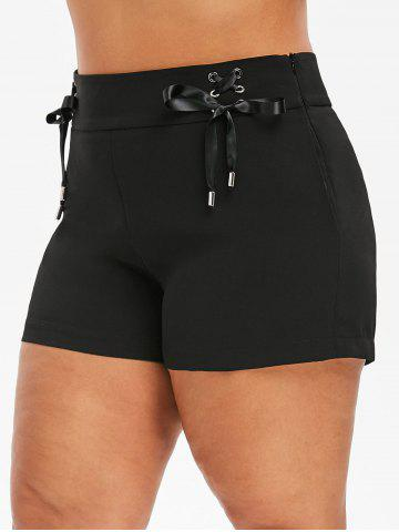 224d1bcbc176b [28% OFF] Plus Size Lace Up Palazzo Shorts | Rosegal