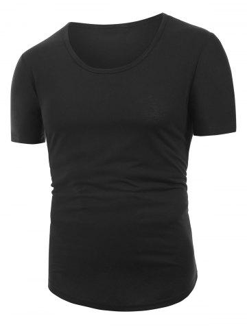 Solid Color Decoration Casual Short Sleeves T-shirt
