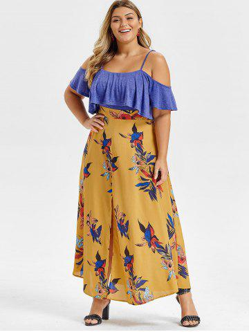 Plus Size Open Shoulder Ruffled Floral High Slit Maxi Dress