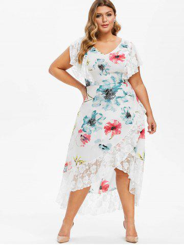 Plus Size Maxi Dresses - Long Sleeve, Floral, White And Black