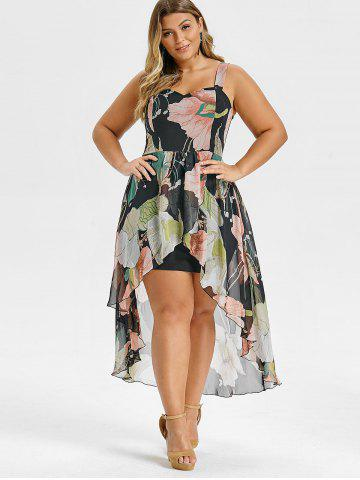 Plus Size High Low Floral Overlay Maxi Bodycon Dress