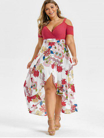 Plus Size Open Shoulder Floral Overlap Maxi Dress