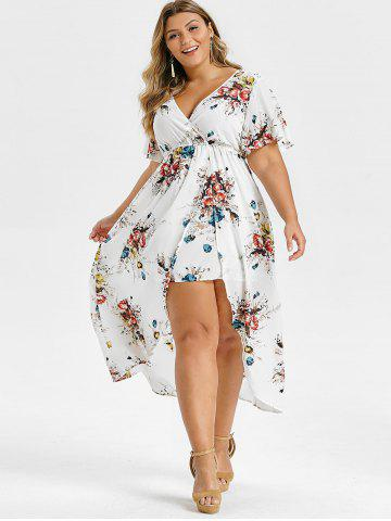 Plus Size Floral Print Bell Sleeve High Low Maxi Dress