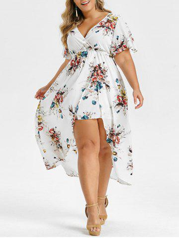 Plus Size Floral Print Bell Sleeve High Low Maxi Dress - WHITE - 3X