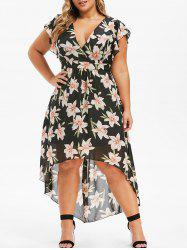 Plus Size Floral High Low Chiffon Maxi Dress -