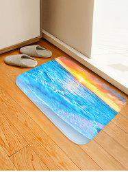 Sunset Beach Pattern Water Absorption Flannel Area Rug -