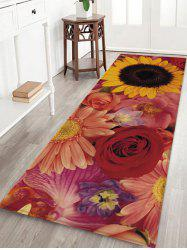 Colorful Flowers Pattern Water Absorption Area Rug -