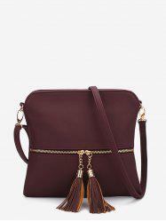 Tassels Zipper Square Shoulder Bag -