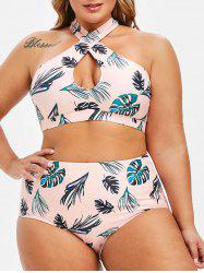 Keyhole Leaves Print Criss Cross Plus Size Bikini Swimsuit -