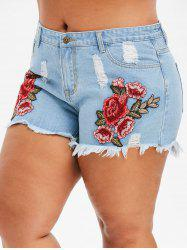 Plus Size Destroyed Embroidered Denim Shorts -