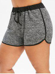 Plus Size Contrast Space Dyed Shorts -