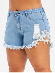 Plus Size Flower Applique Ripped Jean Shorts -