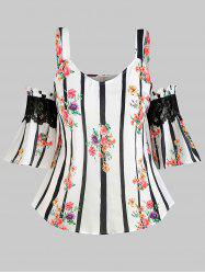 Plus Size Cold Shoulder Flower Striped Lace Panel Blouse -