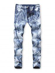 Zip Fly Casual Printed Jeans -