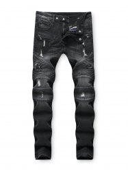 Dark Wash Ripped Decoration Jeans -