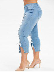 Plus Size Lace Up Capri Frayed Jeans -