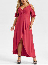 Plus Size Ruffled Sleeve V Neck Asymmetrical Maxi Dress -