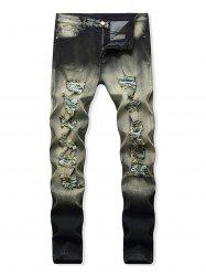 Destroyed Decoration Zip Fly Jeans -