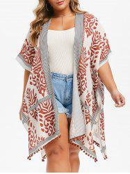 Printed Batwing Open Front Plus Size Blouse -