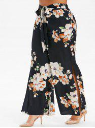 Plus Size High Slit Floral Palazzo Pants -