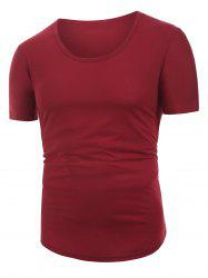 Solid Color Decoration Casual Short Sleeves T-shirt -