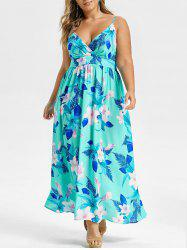 Plus Size Flower High Waist Cami Long Dress -