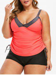 Plus Size Plunge Drawstring Cinched Tankini Swimsuit -