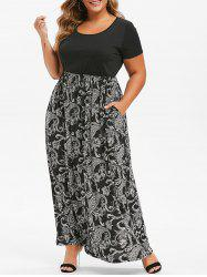 Seam Pockets Printed Maxi Plus Size Dress -