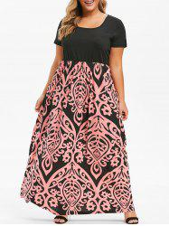 ad4308ebe4 31% OFF] Seam Pockets Printed Maxi Plus Size Dress | Rosegal