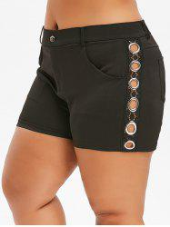 Plus Size Lace Insert Grommet Pocket Shorts -